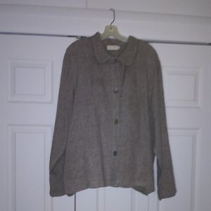 J.Jill linen jacket oatmeal and black in color